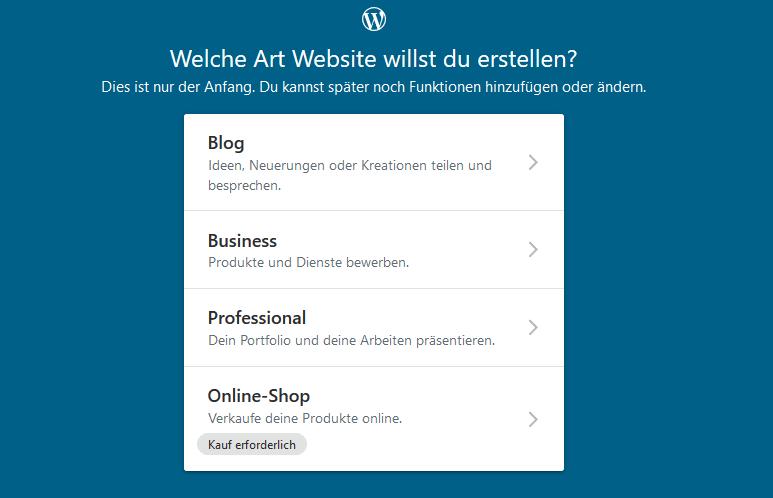 Art der WordPress Webseite wählen