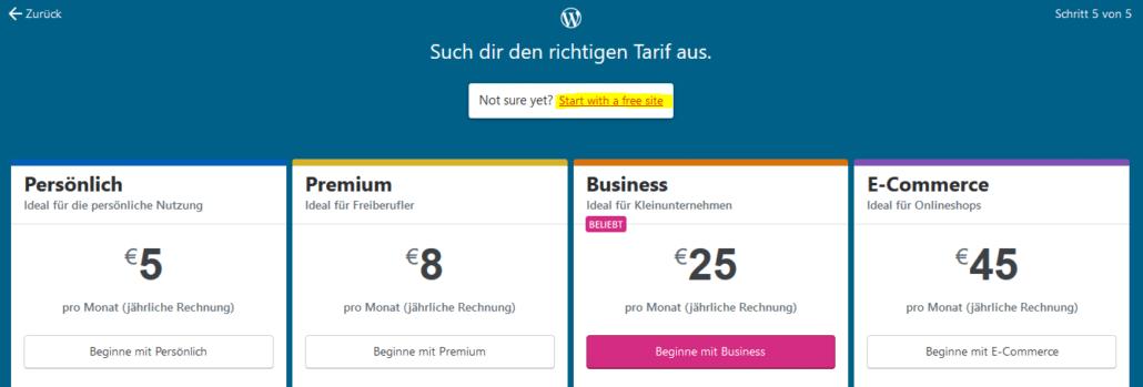 WordPress Tarife und freie Website