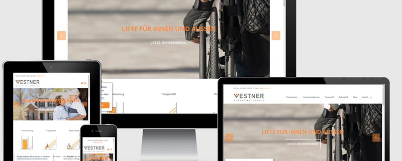 Webseite für den VESTNER Privataufzug